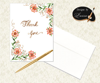 Decorative Orange Floral Thank You Cards with Envelopes