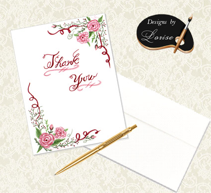 Decorative Rose Floral Thank You Cards with Envelopes
