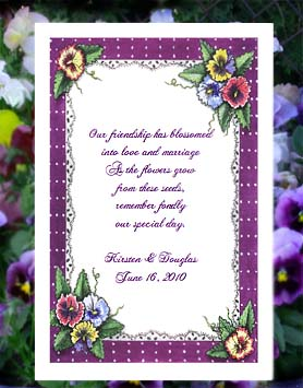 Pansies Design Wedding & All Occasion Seed Favor  Packets