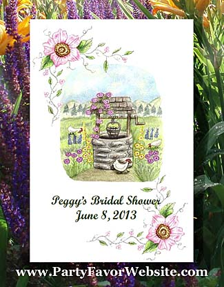 Country Wishing Well  Seed Favor Packets for  Garden Parties & All Occasion events
