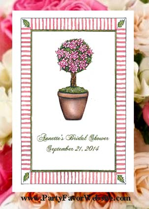 Rose Topiary Seed Favor Packets for Bridal Showers, Garden Parties, etc.