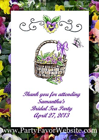 Basket of Pansies  Garden Parties & All Occasion Seed Favors & Tea Packets