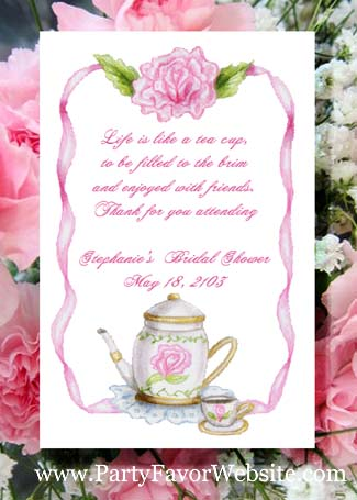 Teapot & RoseTea Party Seed Favor Packets for tea parties, bridal showers and retirement dinners.