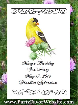 Goldfinch Bird and Thistle Design Bird Lover & Nature Lover Flower Seed Favors