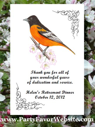 Baltimore Oriole bird & nature lover favors, Seed Favors & Tea Packet Favors