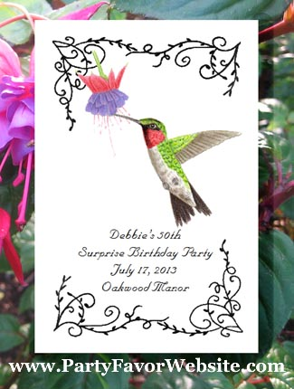 Ruby Throated Hummingbird  Birder Seed Favor Packets for bird and nature lovers