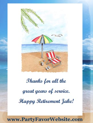 personalized flower day at the beach seed favors for retirement