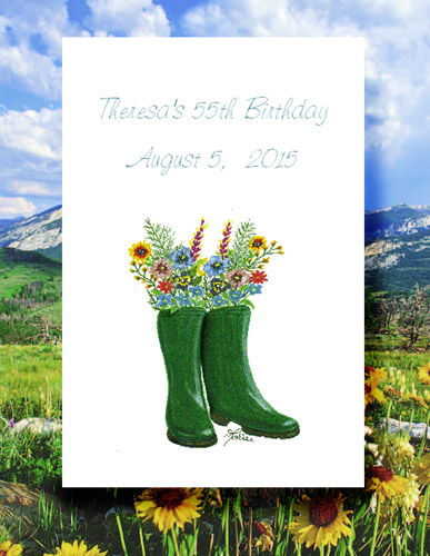 Wellington Wellies Boots with Flowers Seed Favor Packets