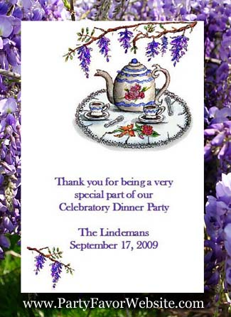 Wisteria and Teapot  Flower Seed Favor Packets for Tea Party, Garden Party, Dinner Party  & All Occasions