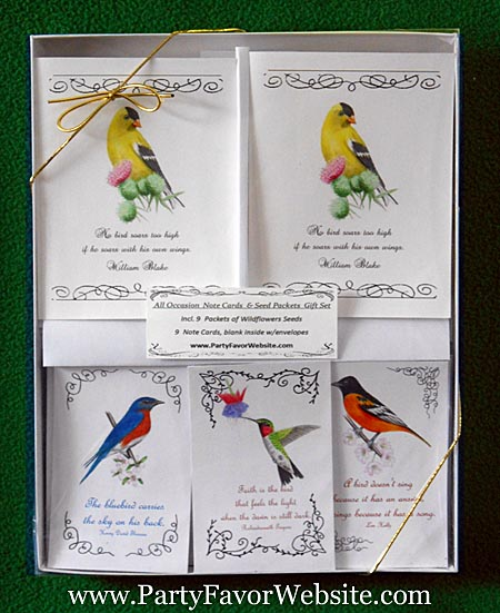Backyard Birds All Occasion Note Cards and Seed Packets Gift Sets