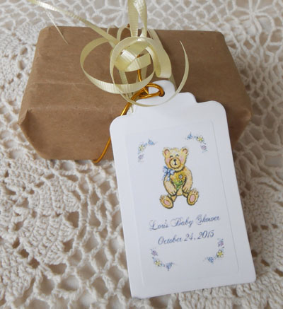 Teddy Bear holding Sunflower Baby Shower  Gift Favor Hang Tags