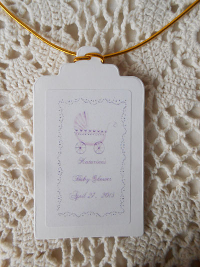 Lavender Baby Carriage Baby Shower  Gift Favor Hang Tags