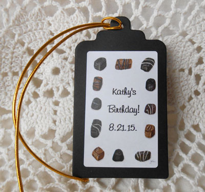 Chocolate Candy  Birthday and Party  Gift Favor Hang Tags