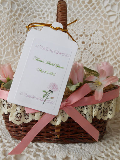 Pink Rose Gift Favor Hang Tags