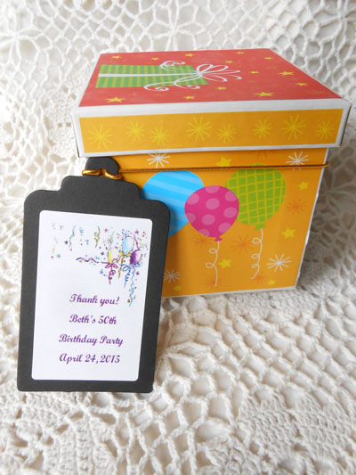 Balloons and Ribbons Birthday and Party  Gift Favor Hang Tags