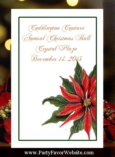 Red Poinsettia Holiday Seed Favors and Tea Packet Favors