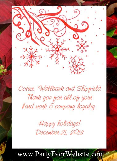 Red Snowflakes Winter theme Seed Favors and Tea Packet Favors