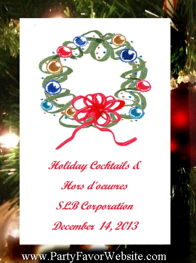 Contemporary Christmas Wreath  Party and Corporate Seed Favors and Tea Packet Favors