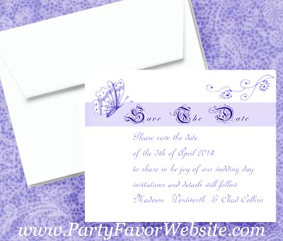 Lavender Butterflies and Fourishes Save The Date Cards- - - AS LOW AS $1.60