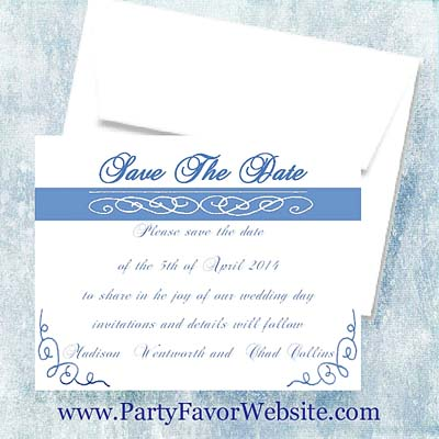Royal Blue Scroll Save The Date Cards- - - AS LOW AS $1.35
