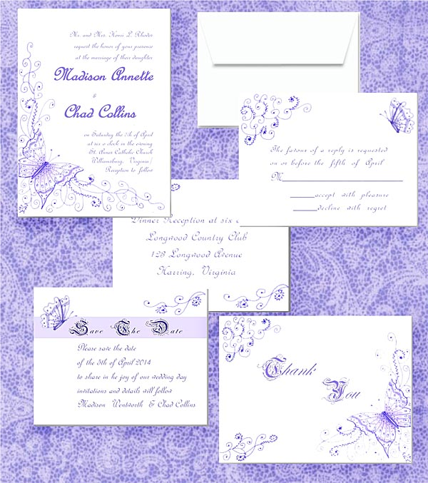 Lavender Butterflies and Fourishes Landmark Wedding Invitations