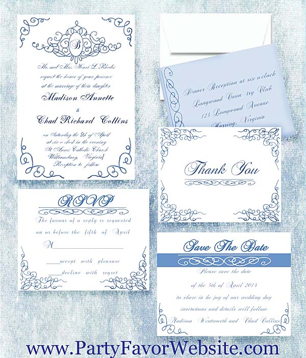 Royal Blue Scroll Landmark Wedding Invitations