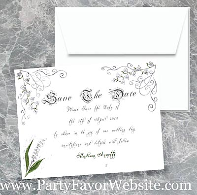 Lily of the Valley  Luxe Save The Date Cards- - - AS LOW AS $2.10