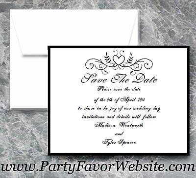 Black and White Scroll Heart with Flourishes Save The Date Cards - - - AS LOW AS $2.10