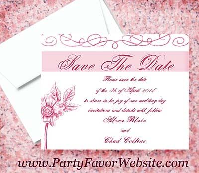 Pink Flower Escapade Luxe Save The Date Cards- - - - - - AS LOW AS $2.35
