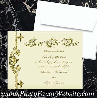 Gold Opulence Luxe Save The Date Cards- - -- - - - - -- - - - - - - - -- AS LOW AS $2.35