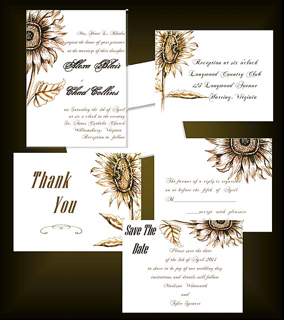 Golden Sunflowers Luxe Wedding Invitations by Lorise