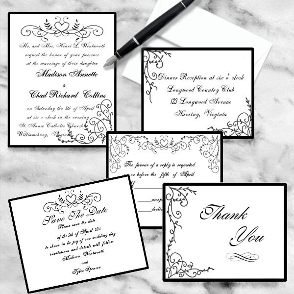 Black and White Scroll Heart with Flourishes Wedding Invitations by Lorise