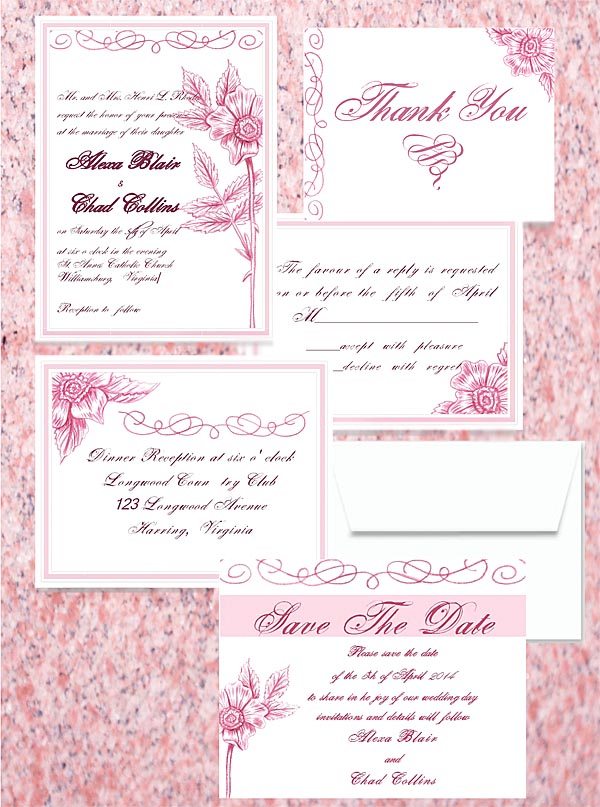 Pink Flower Escapade  Luxe Wedding Invitations by Lorise