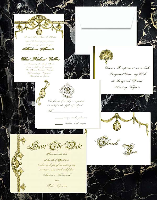 Gold Opulence Luxe Wedding Invitations by Lorise
