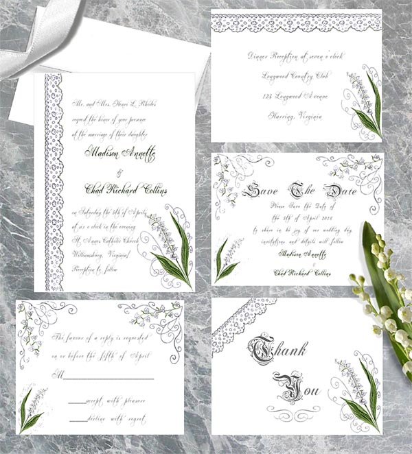 Lily of the Valley Luxe Wedding Invitations by Lorise