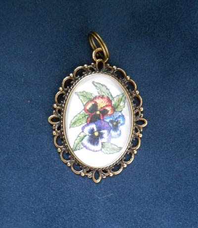 Pansies Jewelry Filigree Pendant