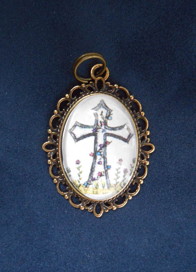 Holy Cross with Flowers Jewelry Filigree Pendant