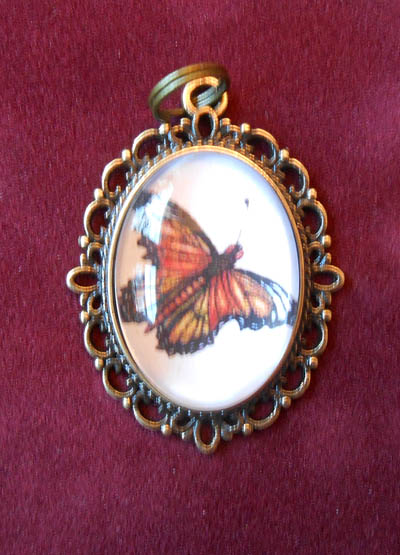 Orange Monarch Butterfly  Jewelry Filigree Pendant