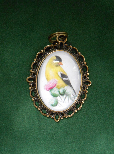 American Goldfinch Bird Jewelry Filigree Pendant