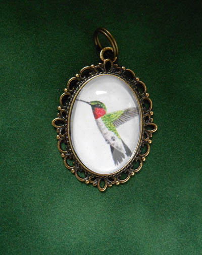 Ruby Throated Hummingbird Jewelry Filigree Pendant