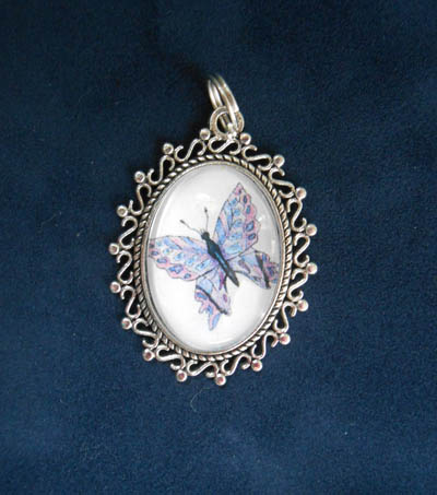 Blue Lavender and Pink Butterfly Jewelry Filigree Silver Pendant