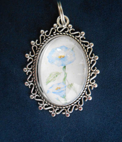 Blue Morning Glory Jewelry Filigree Pendant