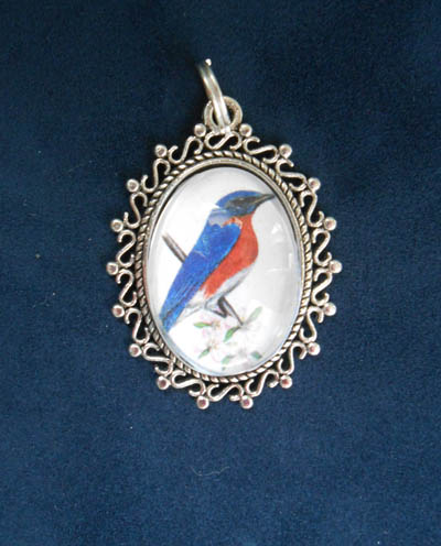 Eastern Bluebird Jewelry Filigree Pendant