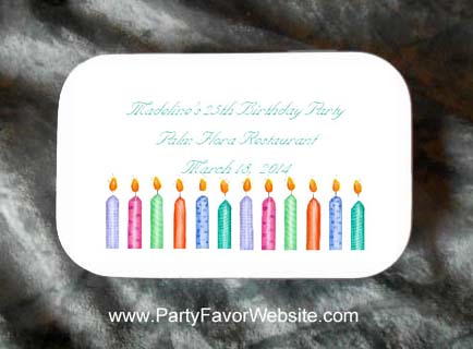Birthday Candles Mint Tin Party Favors Large White