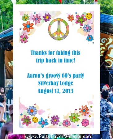 Retro 60's Peace Flower Power  Party & 60's Sixtie theme Retro Birthday Seed  Favors  & Tea Packets