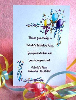 Balloons and Ribbons ( Yellow, Blue, Purple)  Birthday Party Seed Favors  & Tea Packets