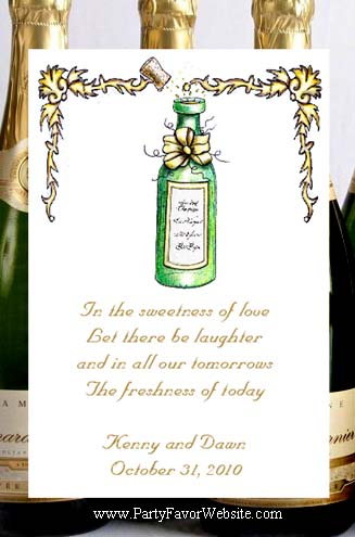 Bottle of Champagne Party Seed Favors  & Tea Packets