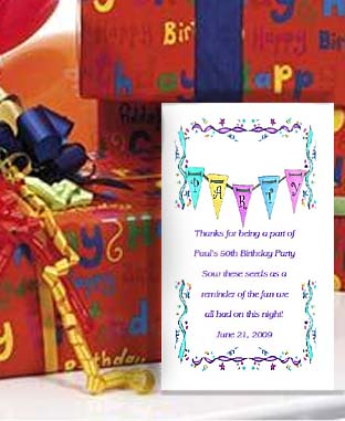 Party  Banner  Party Favor Seed Favors  & Tea Packets