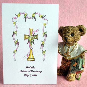 Gold Cross (Pink) Baptism, Christening,  Communion, ConfirmationSeed Favors & Tea Packets