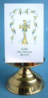 Gold Cross (Blue) Baptism, Christening Communion, Confirmation Christian Seed Favors & Tea Packets